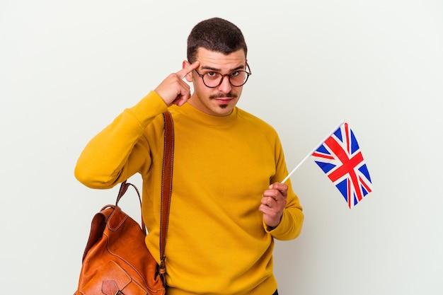 흰색 포인팅 사원 손가락, 생각, 작업에 초점을 맞춘 영어 공부 젊은 백인 남자.