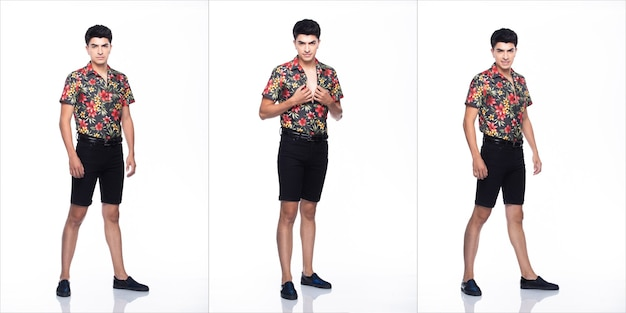 Young caucasian man in summer tropical printed polo shirt black short stand and walk in many action with feeling happy smile and strong, white background isolated, full length collage group concept