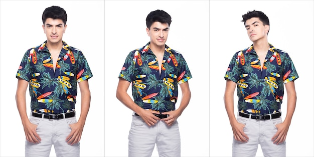 Young caucasian man in summer tropical printed polo shirt black short stand and walk in smile happy action, white background isolated, portrait boy collage group concept