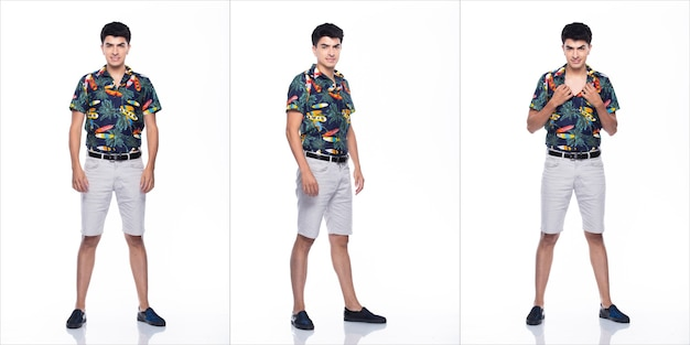 Young caucasian man in summer tropical printed polo shirt white short stand and pose in many action with feeling happy smile and strong, white background isolated, full length collage group concept