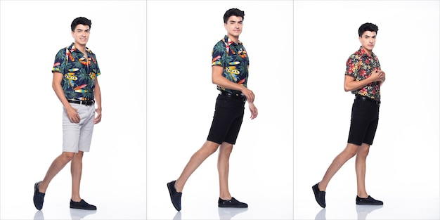 Young caucasian man in summer tropical printed polo shirt white short stand and walk in many action with feeling happy smile and strong, white background isolated, full length collage group concept