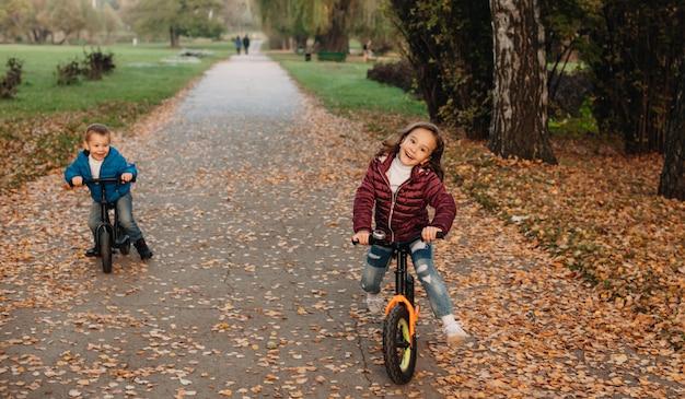 공원에서 자전거를 타고 젊은 백인 형제