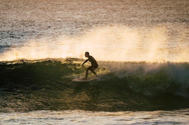 젊은 백인 십대 열대 장소에서 푸른 깨끗한 바다에서 큰 파도에 서핑을 배웁니다