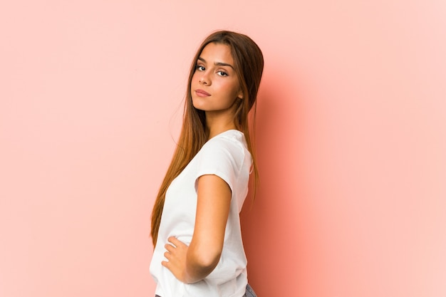 Young caucasian woman doing beauty poses isolated