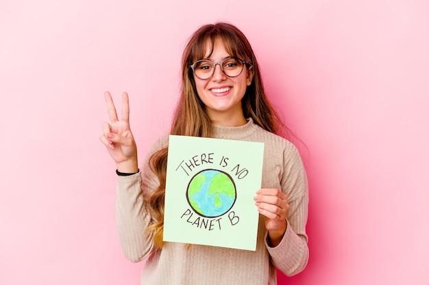 持っている若い白人女性は指で2番目を示している孤立した惑星bはありません