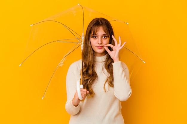 비밀을 유지하는 입술에 손가락으로 고립 된 우산을 들고 젊은 백인 여자.