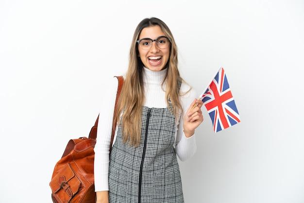 分離されたイギリスの旗を持った若い白人女性