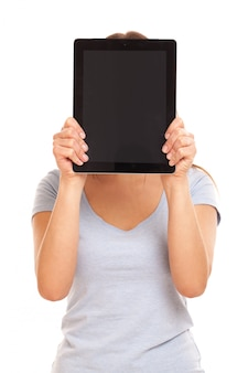 Young caucasian woman with tablet pc