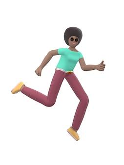 Молодая жизнерадостная африканская девушка танцует и прыгает с поднятыми вверх руками