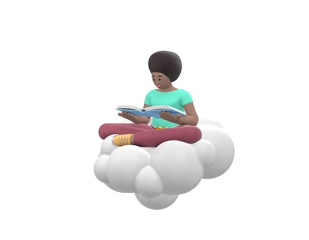 Молодая жизнерадостная африканская девушка сидит в небе на облаке в позе лотоса читает книгу