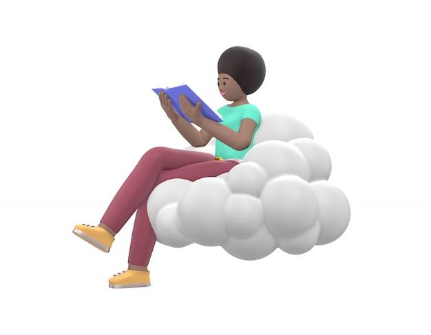 Молодая жизнерадостная африканская девушка сидя в небе на облаке читает книгу