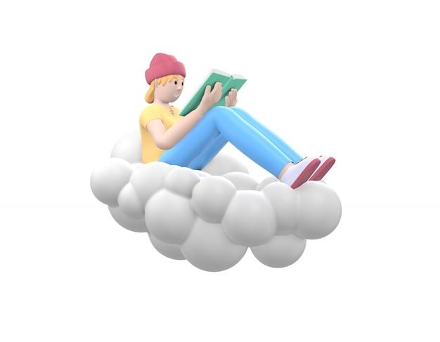 Молодая жизнерадостная девушка битника в шляпе в небе на облаке читает книгу