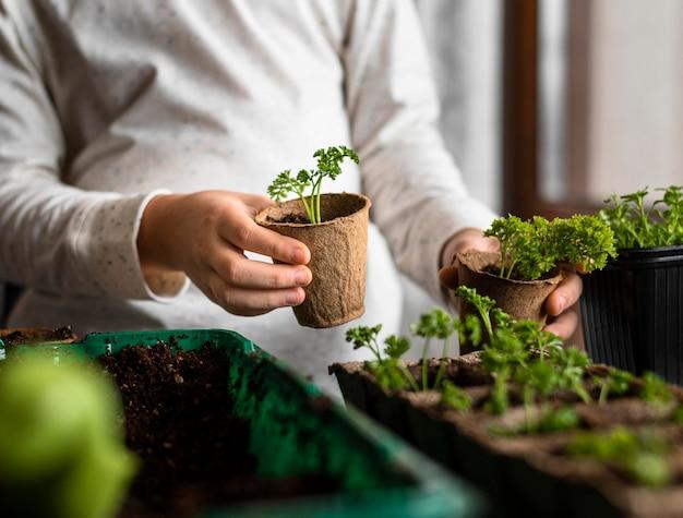 창이 작은 식물을 가진 어린 아이