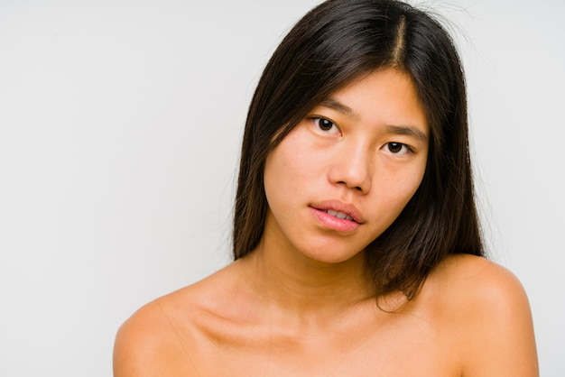 Young chinese woman face close up