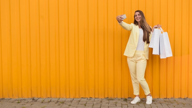 Young client wearing yellow clothes copy space