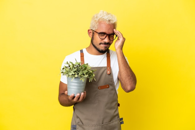 Young colombian man holding a plant isolated on yellow background with headache