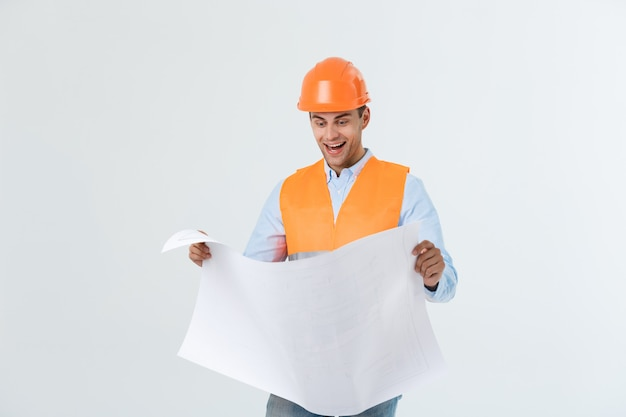 Young construction worker with expression