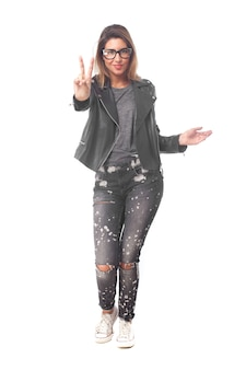 Young cool woman peace sign