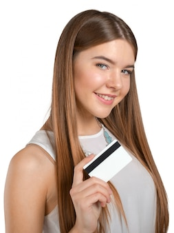 Young cool woman with credit card