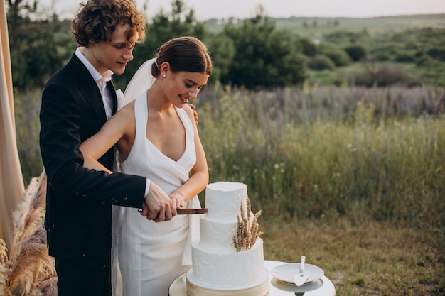 Young couple cutting their wedding cake