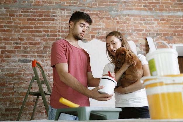 一緒にアパートの修理をしている若いカップル。家のイメージチェンジやリフォームをしている既婚男性と女性。関係、家族、ペット、愛の概念。犬を抱きかかえて、絵の具の色を選びます。