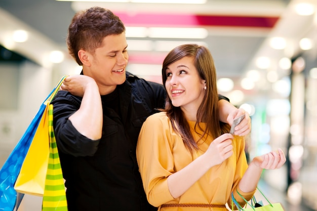 Young couple doing shopping