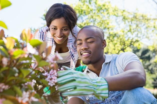 Молодая пара в саду