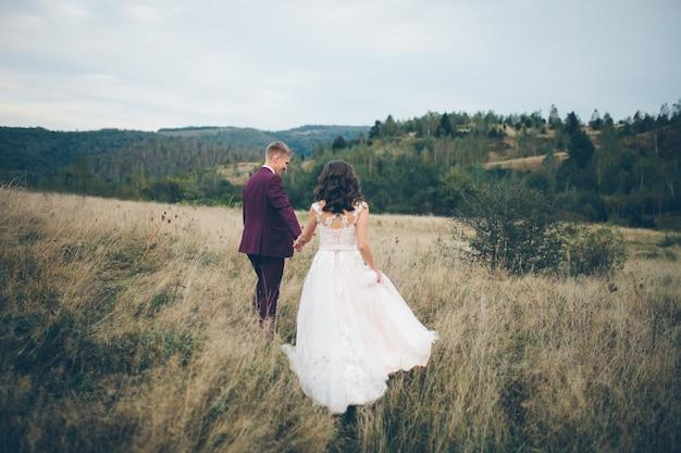 山を背景に芝生の上を手をつないで歩く愛の若いカップル、
