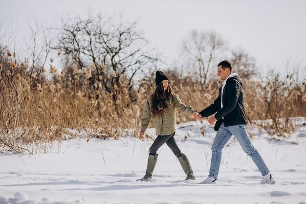 Молодая влюбленная пара гуляет в зимнее время