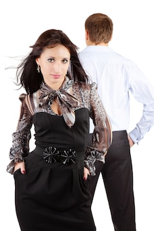Young couple is standing back to back and having difficult relationship