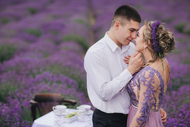 Young couple in a lavender field