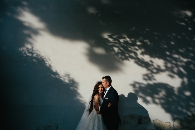 Young couple in love hugging in the shade of trees, sunset, wedding photoshoot