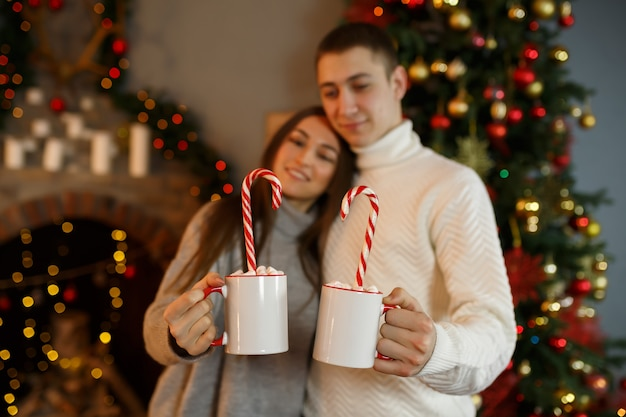 Young couple of lovers celebrates the new year holiday at home