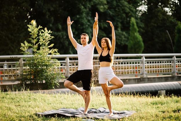 스포츠를 하는 젊은 부부 남녀, 도시 잔디밭에서 요가, 여름 저녁, 함께 스트레칭