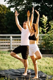 스포츠를 하는 젊은 부부 남녀, 도시 잔디밭에서 요가, 여름 저녁, 스트레칭