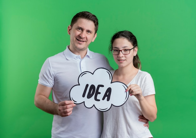 Young couple man and woman standing together smiling happy and positive holding speech bubble sign with word idea over green wall
