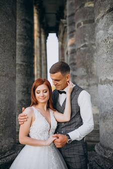Young couple marriage photo session outside