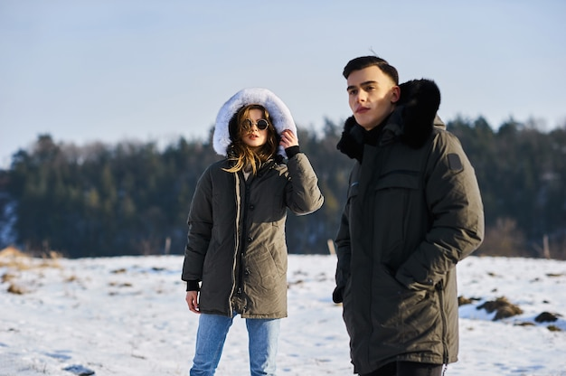 Young couple outdoors in wintertime