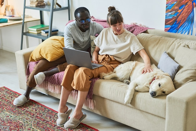 犬と一緒にソファに座って、部屋でラップトップを使用して若いカップル