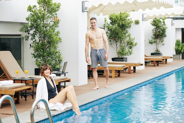 Young couple at spa resort