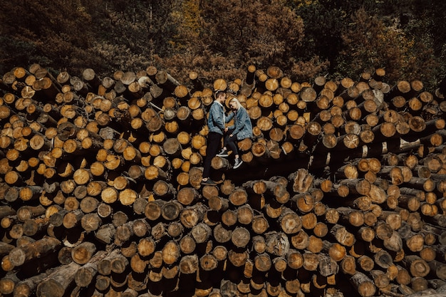 美しい色とりどりの秋の森の薪の山に立っている若いカップル