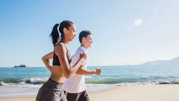 Young couple on summer training