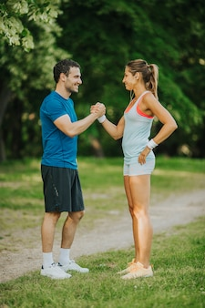 Young couple taking exercise
