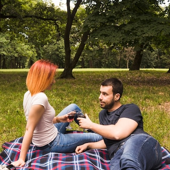 Young couple toasting wine glasses on blanket over the green grass