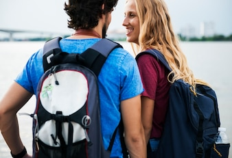 Young couple traveling together wanderlust
