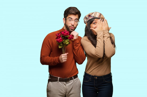 Young couple in valentines day feels worried and scared