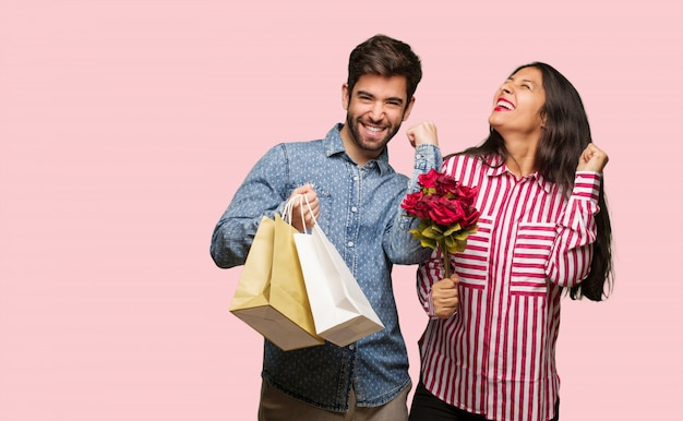 Young couple in valentines day who does not surrender