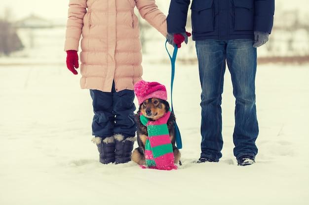 Молодая пара гуляет с собакой на открытом воздухе снежной зимой