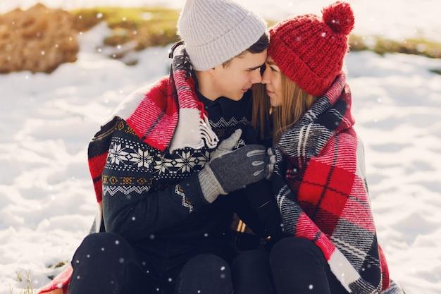 雪原に毛布を着ている若いカップル