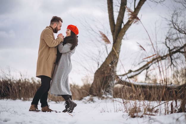 Young couple in a winter park